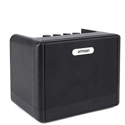ammoon 5W Amplificador de Guitarra Eléctrico Portatil, Mini, Adecuado para Uso en Interiores y Exteriores, 3 Formas de Suministrar Electricidad