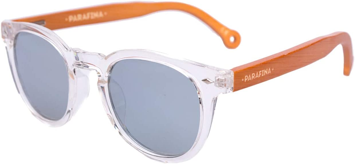 PARAFINA Cala Gafas de Sol para Mujer y Hombre, Protección UV400, Gafas Eco-Friendly Polarizadas y Ultra Ligeras, Montura Eco-friendly color Transparente y Lentes Plateadas Espejadas