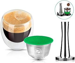 i Cafilas Cafetière réutilisable en acier inoxydable pour machines Dolce Gusto avec cuillère et brosse (dosette de café + ...