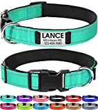 Joytale Personalized Dog Collar with Engraved Slide on ID Tags,Custom Reflective Collars for Small Medium Large Dogs,Teal