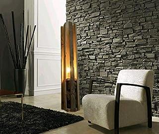 WOOD & STONE Bazar LAMPADA IN LEGNO E PIETRA DESIGN ESSENTIAL luce salotto luminosità regolabile arredamento