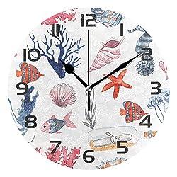 Dozili Ocean Theme Sea Beach Seashell Starfish Decorative Wooden Round Wall Clock Arabic Numerals Design Non Ticking Wall Clock Large for Bedrooms, Living Room, Bathroom