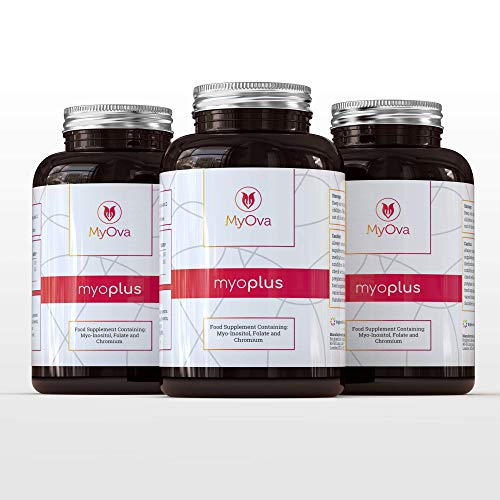3 Pack of MyOva Myoplus - Natural Female Support Supplement for PCOS - 4000mg Myo-Inositol + 200ug Folate + 100ug Chromium - **15% Saving** - 90 Days Supply, 360 Tablets - Made in The UK
