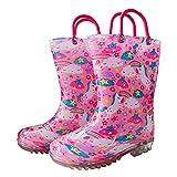 Baogaier Botas de Agua Niños Niñas Unicornio Arcoiris Zapatos de Lluvia Impermeable y Antideslizante Rosa con Asas para Infantiles Bebé Unisexo Niño Niña Talla 22