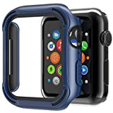 Tuxlke Case Designed for Apple Watch Series 6/5 /4 /SE iWatch 40mm with Tempered Glass Screen Protector,Thin Hybrid Shockproof Dual Layer TPU + PC Case HD Clear [Wireless Charging Compatible]-Blue