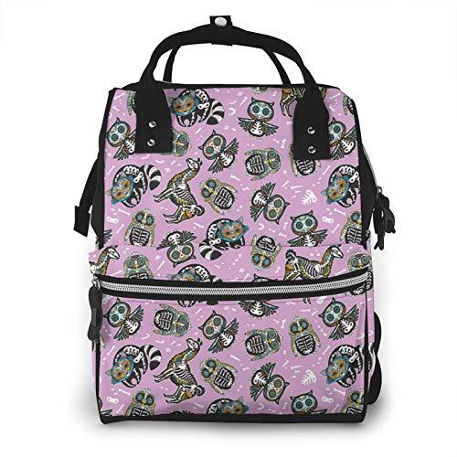 Owl penguian llama and raccoon sugar skull Waterproof Diaper Bag Travel Backpack, Baby Nappy Bags for Dad Mom Toddler