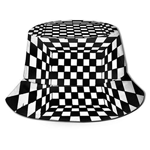 AJOR Sombrero de tablero de ajedrez, para hombres y mujeres, protección UV, camping, verano, flexible, duradero para adolescentes