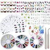 40 Sheet Flower Nail Art Stickers Decals Water Slide Sticker Decal 3 Boxes Acrylic Nail Rhinestones Decorations Fingernail Accessories