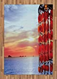 ABAKUHAUS Playa Alfombra de Área, Atrapasueños Ibiza Sunset, Tejida Acento Decorativo para Sala de Estar o Dormitorio, 160 x 230 cm, Coral Azul Rojo