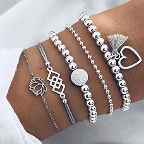Brishow Lot de 4 bracelets à pampilles multi-tours et perles réglables pour femme et fille
