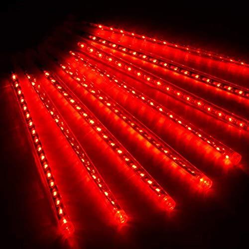 CLL Luce Da Pioggia LED Meteor 80Cm - Luci Da Pioggia Meteorica A 10 Tubi Luci Da Pioggia Per Feste - Decorazioni Per Alberi Di Natale Per Feste Di Matrimonio - Rosse
