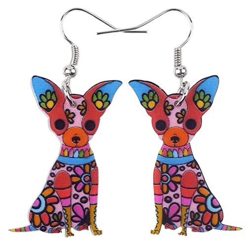 Pendientes de acrílico Chihuahua Sentado, Accesorios de Animales de Moda Colgantes, niña, Mujer, Rojo