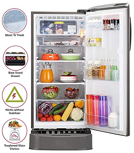 LG 190 L 4 Star Inverter Direct Cool Single Door Refrigerator (GL-D201APZY, Shiny Steel, Base Stand with Drawer) 4