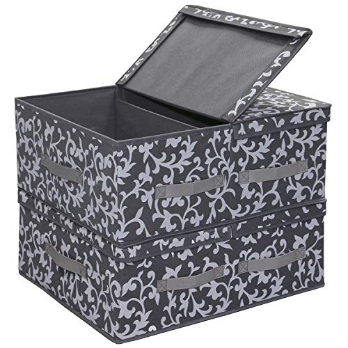 Onlyeasy Fabric Foldable Storage Boxes - Bins Cubes Dividers Organizer Baskets Cloth Closet Shelf Cubby Bookcase Baby Container with 2 Lids, 19.6'x16.5'x7.8', Set of 2 Classic Grey Print, MNCLLB50P2