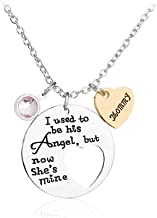 Necklace FyaWTM I Used To Be His Angel But Now She'S Mine Mommy Necklaces Pendants Hollow Heart Splicing Necklace Jewelry Mother'S Day Gift