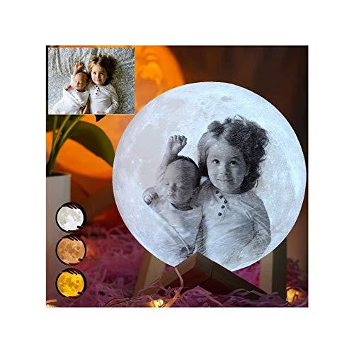 Personalisiert Mondlampe, Mondlicht Lampe mit Eigenem Foto und Gravur 3 Farben LED 3D Nachtlampe mit Ständer/Fernbedienung/Touch Tragbare Zimmer Deko für Baby Kinder Geburtstag
