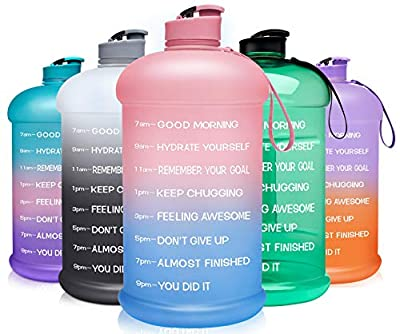 Venture Pal Large 128oz Leakproof BPA Free Fitness Sports Water Bottle with Motivational Time Marker to Ensure You Drink Enough Water Throughout The Day-1 Gallon-Pink/Blue Gradient