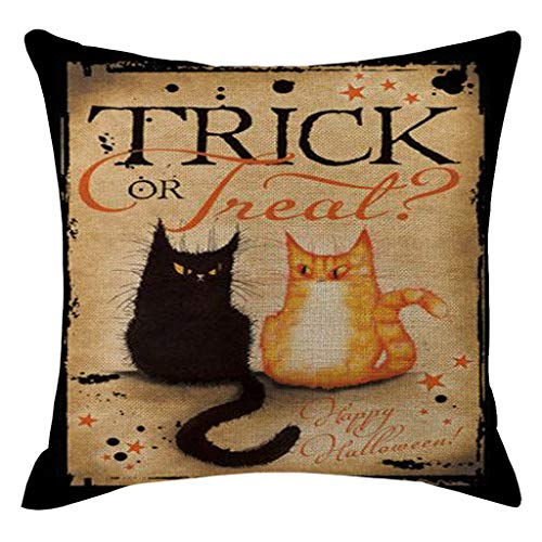 ZFK_Home Throw Pillow Cover 18x18 Inches Vintage Black Happy Halloween Spider Web Crow Black Bird Linen Cushion Cover Throw Pillow Case Sofa Decorative