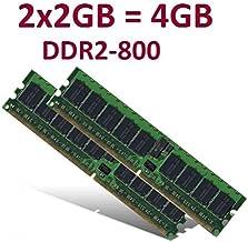 Kit de Memoria de Doble Canal (2X 2 GB, 4 GB en Total, 240 contactos, Dimm DDR2-800 (800 MHz, PC2-6400), 128Mx8x16 de Doble Cara, 100% Compatible con DDR2-667 PC2-5300 y DDR2-533 PC2-4200)