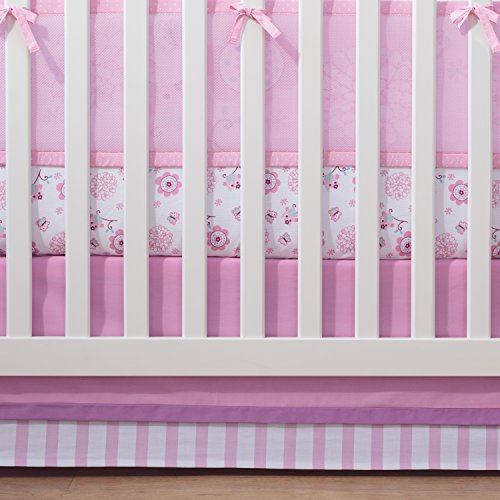 BreathableBaby Cotton Crib Skirt, Pink/Grey by