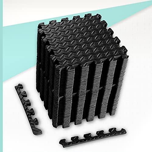 ZERRO CCLIFE Bodenschutzmatte rutschfeste Schutzmatte für Fitnessgeräte Fitness Fitnessraum 60x60 30x30 Unterlegmatten Bodenmatte Trainingsmatte, Farbe:32pcs Schwarz
