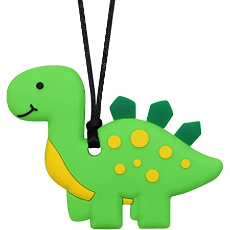 Sensory Chew Necklace for Kids and Boys - Silicone Dinosaur Chewable Necklaces for Teething, Autism, Biting, ADHD, SPD, Oral Sensory Chewy Toy (Green)