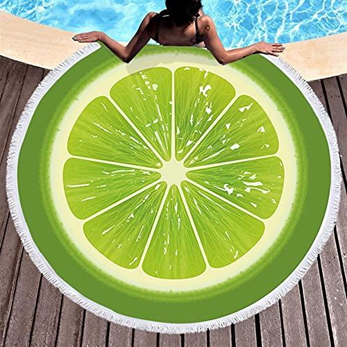 Toalla de playa para frutas, verano, sandía, naranja, kiwi, playa, manta redonda de mar, manta kawaii, alfombra de picnic, alfombra absorbente de manteau (color: 3)