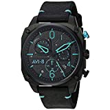 AVI-8 Men's Hawker Hunter Stainless Steel Japanese-Quartz Aviator Watch with Leather Strap, Black, 22 (Model: AV-4052-05)