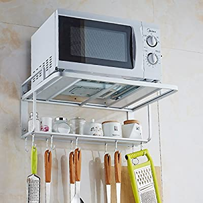 Space Aluminum Microwave Oven Bracket Wall Mount Double Rack with Removable Hooks