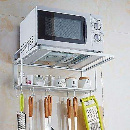 OTTOCASA Micro-ondes Support étagères Cintre Support Multifonctionnel avec Crochet pour Cuisine (Support Multifonctionnel)
