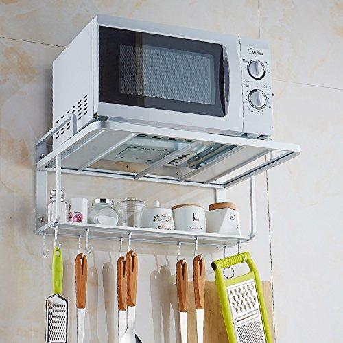 Space, soporte de pared para horno microondas de aluminio, doble estante con ganchos extraíbles.