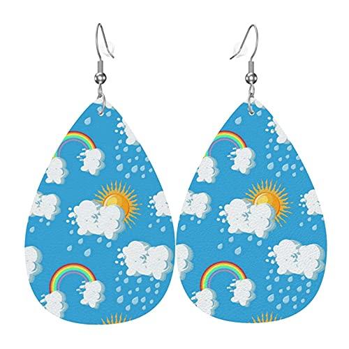 Sonnenwolken Regenbogen Regen Leder Ohrringe Für Frauen Neujahr Party Ohrringe Teardrop Baumeln Leichte Blattohrring