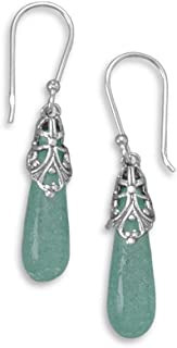 Ancient Roman Glass Aqua Blue Earrings Antiqued Sterling Silver