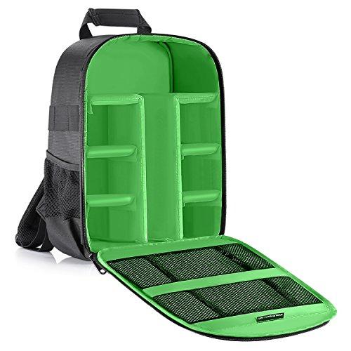 Neewer® Flexible Trennwand Kamera Gepolsterte Rucksack Tasche Stoß- Insert Schutz für SLR DSLR Spiegellose Kameras und Objektive, Blitzlicht, Funkauslöser und anderes Zubehör (innen grün).
