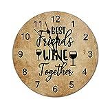 Best Friends Wine Together Orologio da Parete Memoriale dell'amicizia Amicizia a Lunga Distanza Orologio da Parete in Legno da 12 Pollici, Funzionamento a Batteria, Decorazione della Parete
