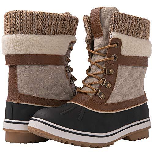 GLOBALWIN Women's Brown/Beige Winter Snow Boots 8.5M