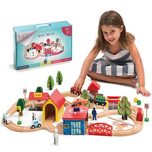 Kipipol Train Set - 69 Pieces Wooden Train Tracks & Trains for Kids, Toddler Boys and Girls 3,4,5 Years Old and Up– Premium Wood Construction Toys -Fits Thomas, Brio, IKEA, Melissa and Doug