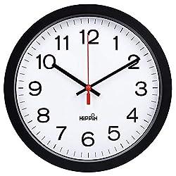 Yoobure 12 Silent Quartz Decorative Wall Clock Non-Ticking Digital Plastic Battery Operated Round Easy to Read Home/Office/School Black Clock