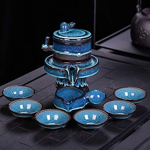 QCCOKNN Juego completo de té de cerámica Kung Fu semiautomático, diseño de lazo de piedra Kung Fu