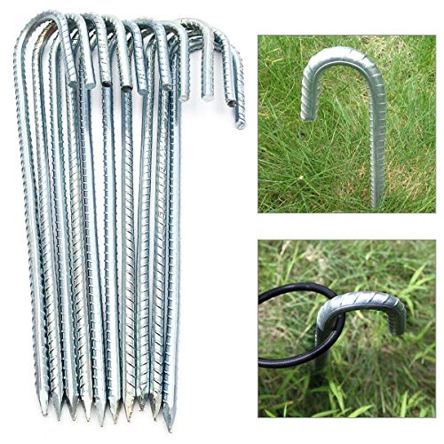 Anladia 10 x galvanised ground anchors, silver, sturdy ground anchors, 30 cm, ground hooks for trampoline, fence, tents, bouncy castles (30 cm, diameter 9 mm)