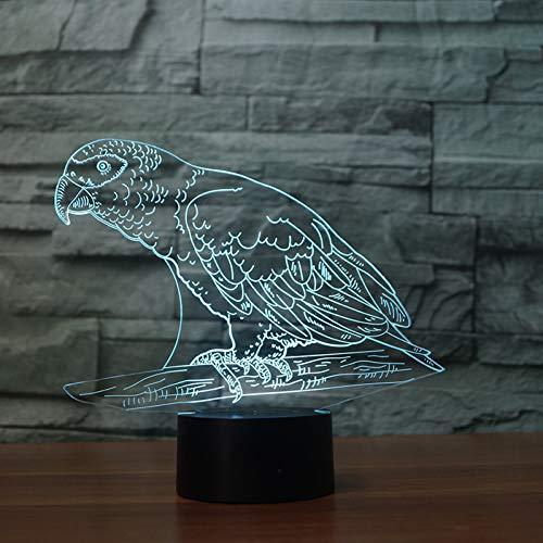 LLZGPZXYD 7 kleurverandering papegaai vorm nachtlampje 3D LED vogel tafel bureaulamp kinderen nachtrust verlichting kamer decor lichtgevend geschenk Touch And Remote