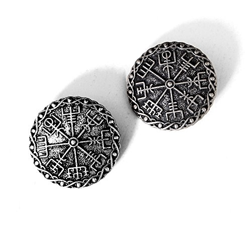 Medieval Viking Brooch Pin Set-Vintage Brooch Pin for Women Pagan Brooch Norse Viking Jewelry Pagan Amulet Brooch Wiccan Accessories Viking Round Brooch Set with Viking Rune Symbol (Brooch 01)