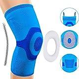 Rodillera, soporte de manga de compresión de rodilla para correr, artritis, ACL, desgarro de menisco, deportes, alivio del dolor articular y recuperación de lesiones (Azul, L)