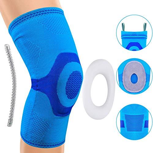 Rodillera, soporte de manga de compresión de rodilla para correr, artritis, ACL, desgarro de menisco, deportes, alivio del dolor articular y recuperación de lesiones (Azul, XXL)