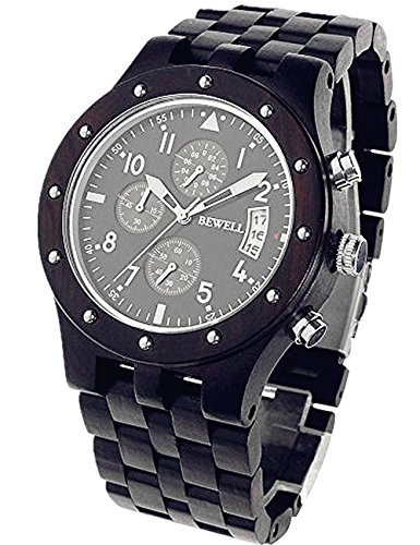 Reloj Madera Bewell Para Hombre De éBano Y Elegante CronóGrafo Multifuncional Reloj Pulsera De Madera, Gran Idea Regalo