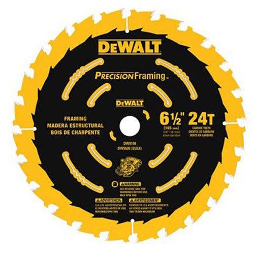 DEWALT 6-1/2-Inch Circular Saw Blade, Precision Framing, 24-Tooth (DW9199)