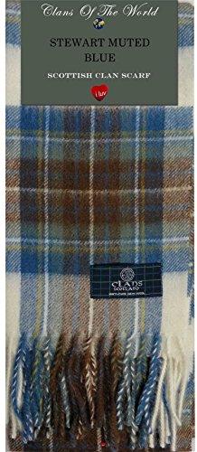 I Luv LTD Stewart Muted Blue Modern Tartan Clan Scarf 100% Soft Lambswool