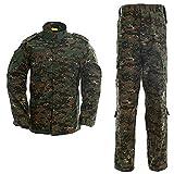 LANBAOSI - Chaqueta táctica y Pantalones de Combate para Hombre, Camuflaje, Hombre, Color Jungle Digital, tamaño L
