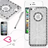 Pandamimi iphone 5 case - Deluxe Sliver Bling Diamond Rhinestone Aluminum Chrome Hard Case Cover with Screen Protector
