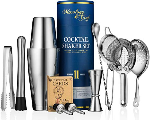 11-piece Cocktail Shaker Set | Mixology Bartender Kit with Weighted Boston Shaker and Bar Tools Set For Home or Professional Bartending | Best Cocktail Set for Awesome Drink Mixing Experience (silver)